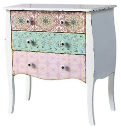 Casa Padrino Country Style Chest of Drawers Antique White / Multicolored 75 x 38 x H. 76 cm - Shabby Chic Furniture