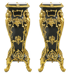 Casa Padrino Baroque marble columns Set Gold / Black 35 x 35 x H.85 - marble column (2 pcs) - Limited Edition