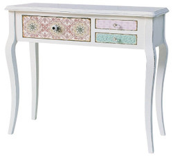 Casa Padrino Country Style Console Antique White / Multicolored 90 x 34 x H. 77 cm - Shabby Chic Furniture