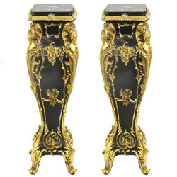 Casa Padrino Baroque marble columns Set Gold / Black 25 x 25 x H.70 Mod.2 - marble column (2 pcs) - Limited Edition