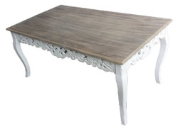 Casa Padrino Country Style Coffee Table White / Gray Brown 123 x 70 x H. 54 cm - Shabby Chic Living Room Furniture