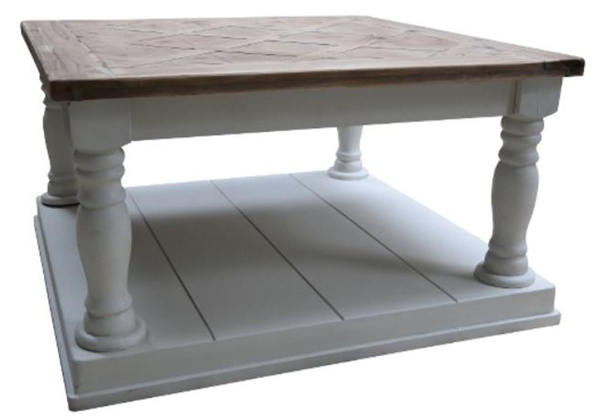 casa padrino landhausstil couchtisch wei braun 82 x 82 x h 48 cm wohnzimmerm bel im. Black Bedroom Furniture Sets. Home Design Ideas