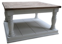 Casa Padrino Country Style Coffee Table White / Brown 82 x 82 x H. 48 cm - Living Room Furniture in Country Style