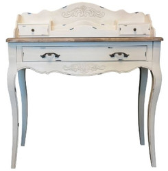Casa Padrino Country Style Desk Antique White / Brown 90 x 40 x H. 102 cm - Desk in Shabby Chic Look