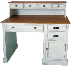 Casa Padrino Country Style Desk Antique White / Brown 100 x 51 x H. 108 cm - Desk in Shabby Chic Look
