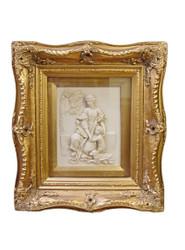 Casa Padrino Barock Wanddekoration Bilderrahmen mit Antik Stil Bildniss Gold / Weiß