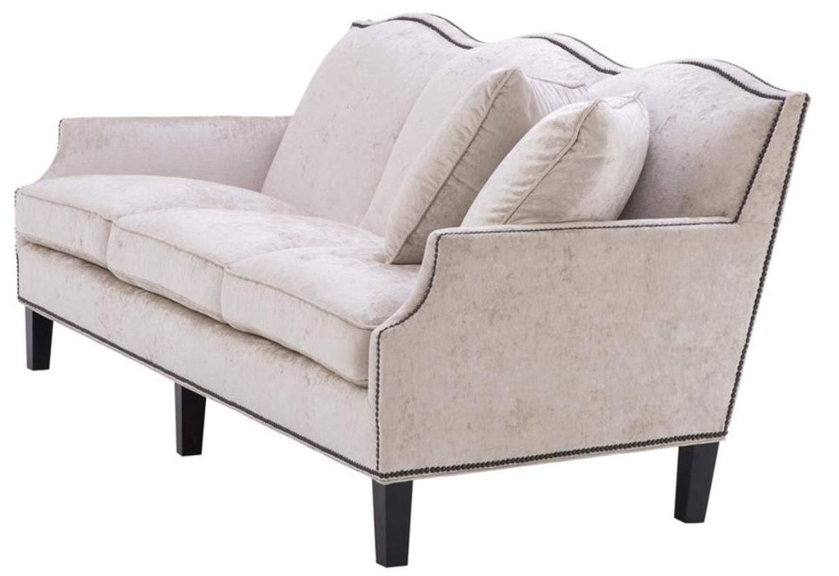casa padrino luxus wohnzimmer sofa creme schwarz 220 x 98 x h 90 cm limited edition sofas. Black Bedroom Furniture Sets. Home Design Ideas
