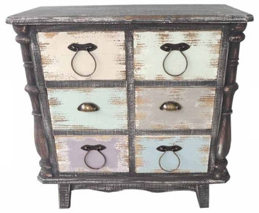 Casa Padrino Country Style Chest Of Drawers Antique Black / Multicolored 80  X 38 X H. 79 Cm   Chest In Shabby Chic Look