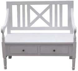 Casa Padrino country style bench with armrests and 2 drawers white 120 x 51 x H. 90 cm - Country Style Furniture