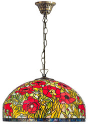 Casa Padrino Tiffany Hanging Lamp Multicolor Ø 50 x H. 95 cm - Handmade Tiffany Hanging Lamp Made Of 1221 Pieces