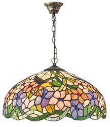 Casa Padrino Tiffany Pendant Lamp Multicolor Ø 40 x H. 92 cm - Luxury Quality
