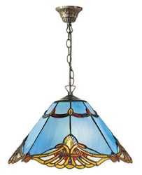 Casa Padrino Tiffany Hanging Lamp Blue / Multicolor Ø 40 x H. 82 cm - Handmade Tiffany Pendant Lamp