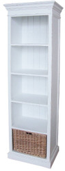 Casa Padrino Country Style Bookcase Antique White / Natural 59 x 40 x H. 194 cm - Furniture in Country Style