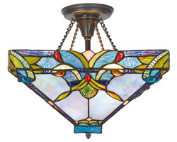 Casa Padrino Tiffany Ceiling Light / Ceiling Lamp Colorful Ø 36 x H 40 cm - Handmade Tiffany Lamp