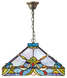 Casa Padrino Tiffany Hanging Lamp / Pendant Lamp Colorful Ø 36 x H. 92 cm - Handmade Tiffany Lamp