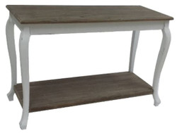 Casa Padrino Country Style Console Antique White / Dark Brown 120 x 50 x H. 80 cm - Handcrafted Console Table with Shelf