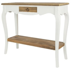 Casa Padrino Country Style Console White / Dark Brown 91 x 34 x H. 77 cm - Handcrafted Console Table with Drawer
