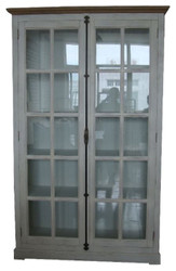 Casa Padrino Country Style Showcase Antique White / Natural Colors 136 x 43 x H. 222 cm - Display Cabinet with 2 Glass Doors and Decorative Bar Lock in Country Style