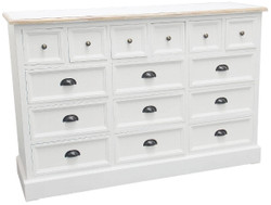 Casa Padrino Country Style Apothecary Chest Antique White / Natural Colors 141 x 47 x H. 96 cm - Country Style Chest with 15 Drawers