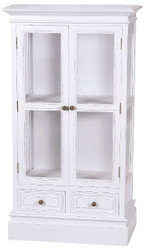 Casa Padrino Country Style Showcase Antique white 69 x 35 x H. 127 cm - Two-Door Glass Cabinet with 2 Drawers in Country Style