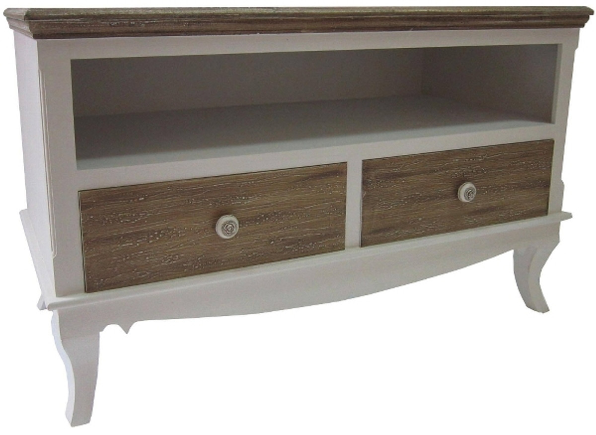 Casa Padrino Country Style TV Cabinet White / Brown 100 X 42 X H. 61 Cm    Handmade Living Room TV Cabinet In Country Style