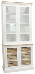 Casa Padrino Country Style Display Cabinet Antique White / Natural 93 x 40 x H. 200 cm - Country Style Collection