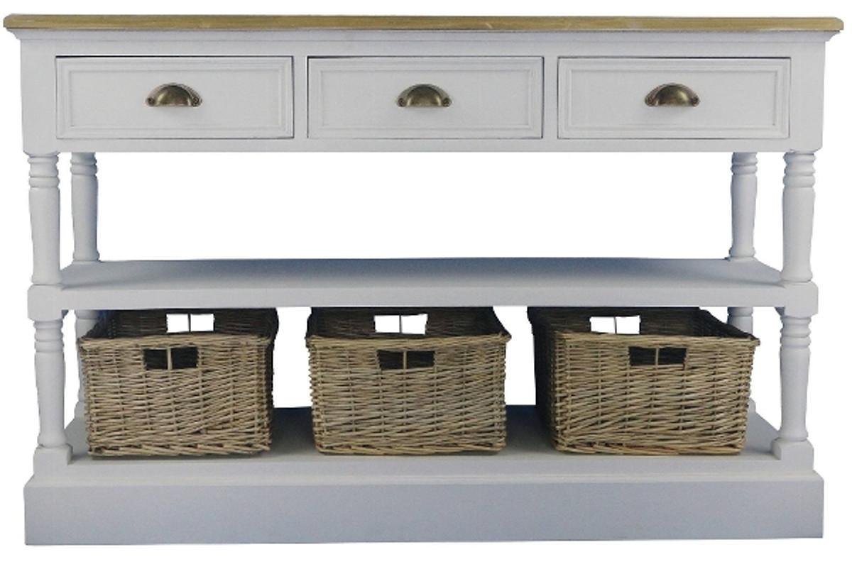casa padrino landhausstil konsolentisch mit ablage und rattank rben antik wei naturfarben 122. Black Bedroom Furniture Sets. Home Design Ideas