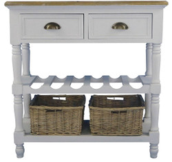 Casa Padrino country style console table with 2 drawers and 2 rattan baskets antique white / natural colors 77 x 30 x H. 77 cm - Handcrafted Console with Bottle Rack