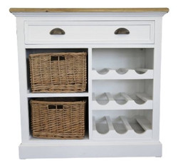 Casa Padrino country style chest with drawer and 2 rattan baskets antique white / natural colors 80 x 35 x H. 80 cm - Handcrafted Chest with Bottle Rack
