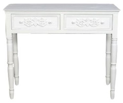 Casa Padrino Country Style Desk with 2 Drawers Antique White 96 x 45 x H. 79 cm - Handmade Shabby Chic Furniture