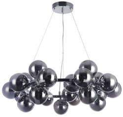Casa Padrino Living Room Hanging Lamp Silver / Black Ø 69 x H. 23.8 cm - Pendant Lamp with Spherical Lampshades