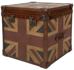 Casa Padrino Luxury Chest Union Jack Brown / Multicolored 49 x 44 x H. 57 cm - Handmade Genuine Leather Chest in a Suitcase Look