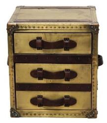 Casa Padrino Luxus Beistelltisch mit 2 Schubladen Oxidiert Kupferfarben / Dunkelbraun 52 x 48 x H. 50 cm - Handgefertigter Beistelltisch im Kofferlook