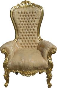 Casa Padrino Barock Thron Sessel Majestic Medium Creme-Gold Muster / Gold Mod2 mit Bling Bling Glitzersteinen - Riesensessel - Thron Stuhl Tron – Bild