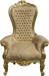 Casa Padrino Baroque Throne Armchair Majestic Medium Cream Gold Pattern / Gold Mod2 with Bling Bling Rhinestones - Giant Armchair - Throne Chair Tron