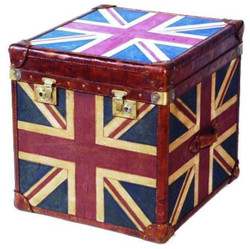 Casa Padrino Luxury Chest Multicolor 60 x 60 x H. 60 cm - Handmade Genuine Leather Chest with Union Jack Design