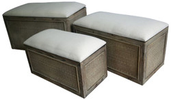 Casa Padrino Country Style Bench Set of 3 Brown / Beige - Handmade Benches with Storage Space and Padded Seats