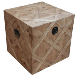 Casa Padrino Country Style Chest Natural Colors 48 x 48 x H. 48 cm - Handmade Wooden Chest in Parquet Look
