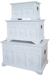 Casa Padrino Country Style Chests Set of 3 White - Handmade Wooden Chests with Finely Carved Tendril Motifs