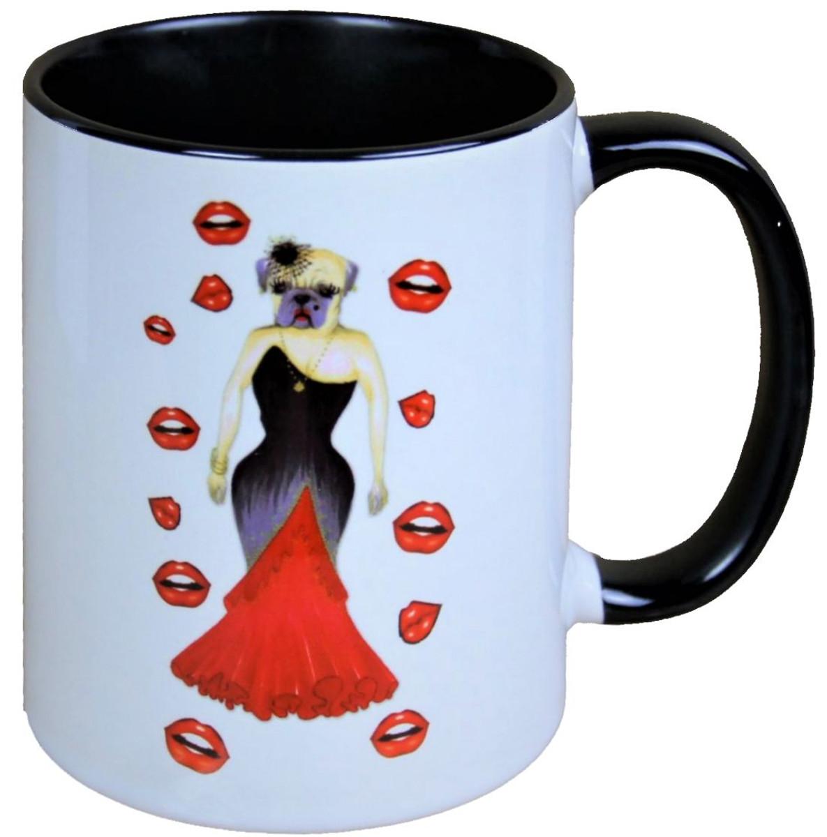 harald gl ckler pomp s tasse hund mit rot schwarzem abendkleid designed by harald gl ckler. Black Bedroom Furniture Sets. Home Design Ideas