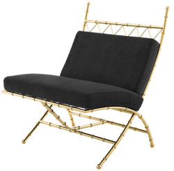 Casa Padrino Luxury Folding Chair Gold / Black 75 x 81.5 x H. 92 cm - Luxury Furniture