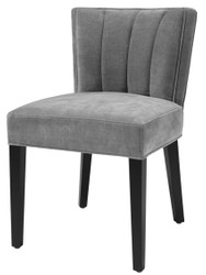 Casa Padrino Luxury Dining Chair Gray / Black 51 x 62 x H. 82 cm - Luxury Dining Room Furniture