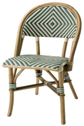 Casa Padrino luxury rattan chair natural colors / green / white 46 x 60 x H. 83 cm - Conservatory Furniture