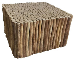 Casa Padrino Country Style Coffee Table Natural Colors 80 x 80 x H. 46 cm - Handmade Living Room Table