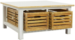 Casa Padrino Country Style Coffee Table White / Natural Colors 90 x 90 x H. 47 cm - Handmade Coffee Table with 2 Wooden Baskets