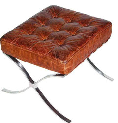 Casa Padrino Genuine Leather Footstool Vintage Brown / Silver 56 x 53 x H. 43 cm - Handmade Chesterfield Furniture
