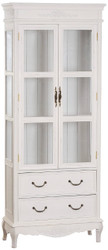 Casa Padrino Country Style Display Cabinet Antique White 70 x 31 x H. 177 cm - Handmade Shabby Chic Showcase with 2 Glass Doors and 2 Drawers