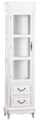 Casa Padrino Country Style Showcase Antique White 45 x 30 x H. 170 cm - Handmade Shabby Chic Showcase with Door and 2 drawers