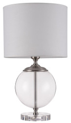 Casa Padrino Table Lamp Silver / Cream Ø 30 x H. 52 cm - Modern Table Lamp with Metal Frame and Glass-Blown Decorative Element