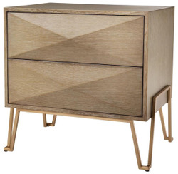 Casa Padrino luxury bedside table with 2 drawers brown / brass 62.5 x 49 x H. 60 cm - Luxury Quality